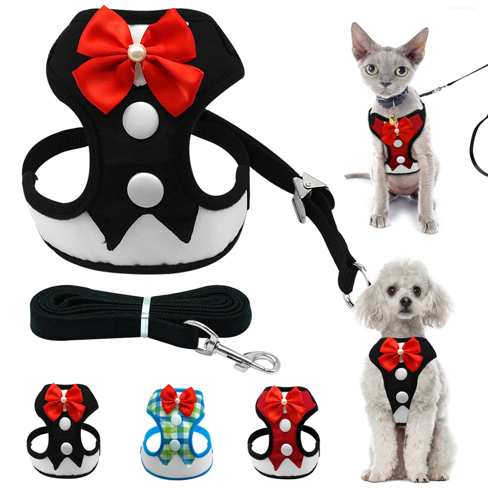 Elegant Bow Dog Harness Nylon Mesh Puppy Vest Andas Djur Walking - Produkter för djur