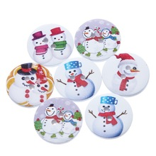 FUNIQUE 2017 New 100PCs Christmas Series Round Two Holes Wooden Buttons Snowflake Christmas Tree Shaped Fashion Buttons