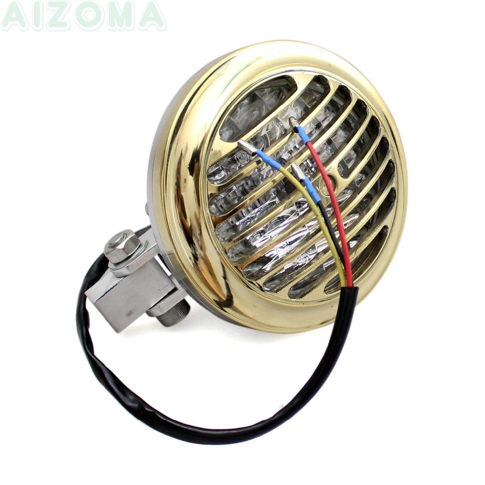 Brass Finned Grille 5 quot Headlight 12v 35w Motorcycle Retro Vintage Headlamp For Harley Sportster Chopper Bobber Dyna Custom