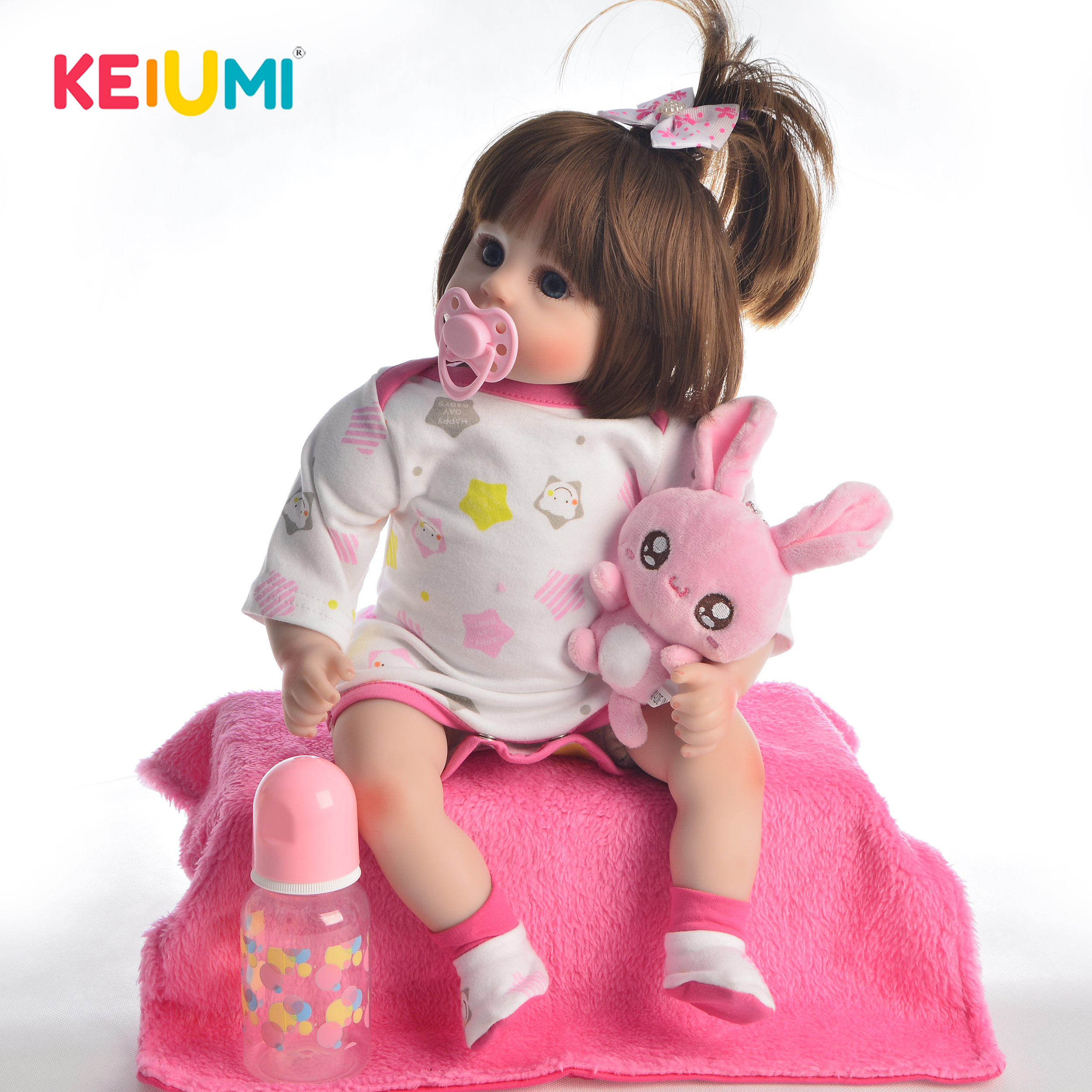 KEIUMI 18 Inch New Style Reborn Baby Lovely Girl Doll With Soft Silicone Vinyl 2019 Cute Baby Toy Doll For Childrens Day GiftsKEIUMI 18 Inch New Style Reborn Baby Lovely Girl Doll With Soft Silicone Vinyl 2019 Cute Baby Toy Doll For Childrens Day Gifts