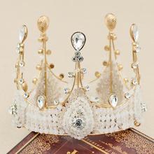 Vintage Baroque Headwear Queen King Bride Crown Women Headdress Prom Bridal Wedding Tiaras and Crowns Hair Jewelry Accessories все цены
