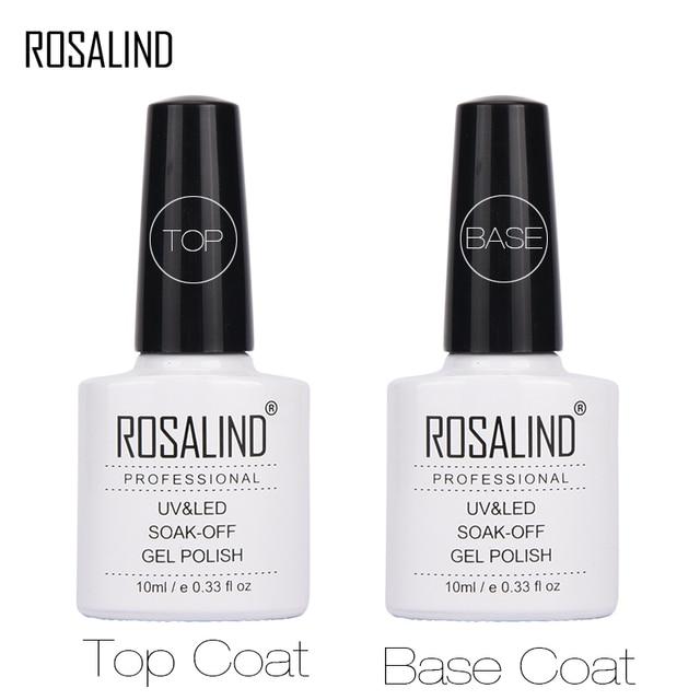 ROSALAND грунтовки гель для ногтей 10 мл Топ базовый гель Лаки топ с + база пальто фундамент для UV гель лак для ногтей Дизайн