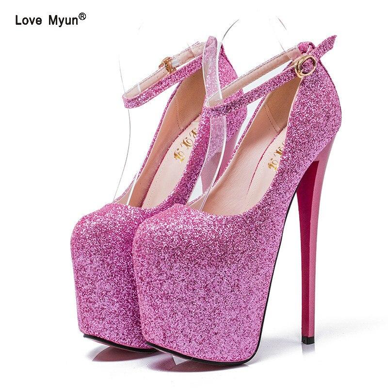 Size 46 16CM Extreme High Heels Fashion T-show Shoes Woman Platform Patent Leather Women Pumps Sexy Ladies Party Wedding Shoes