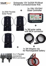 Solarparts 12V 3x25W DIY RV/Boat Kits Solar System 25W flexible solar panel1x 10A solar controller 1 set 3M MC4 cable 1 set clip