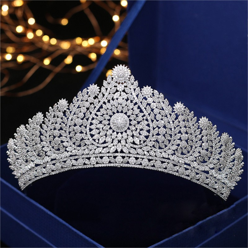Jonnafe Luxurious Full Zircon Princess Tiara Bridal Hair Crown Women Wedding Evening Prom Hair Accessories Headpiece