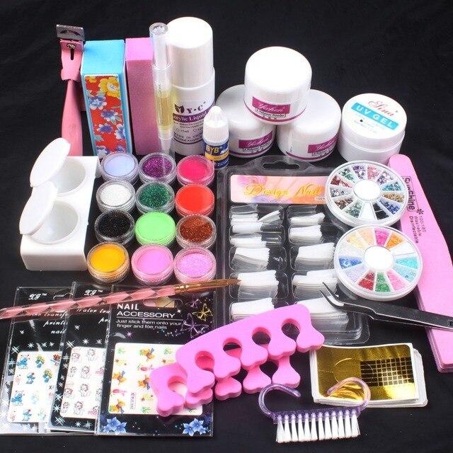 UC-137 Pro Acrylic Powder Liquid French nail sticker Brush Glue Nail art Tools kits