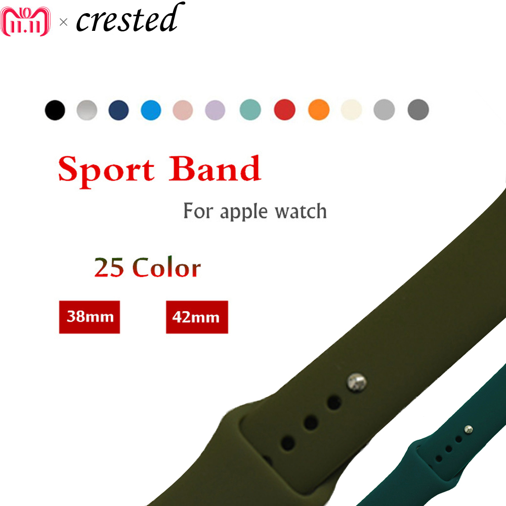 Sport Silicone strap For Apple Watch band 42mm/38mm44mm/40mm Iwatch 4/3/2/1 bracelet Rubber Wrist watchband +metal Buckle