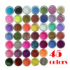 45 Colors Glitter Nail Art Dust Tool Kit Acrylic Gem Polish Nail Tools 3D Nail Art