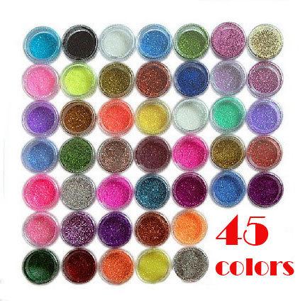 45 Colors Glitter Nail Art Dust Tool Kit Acrylic Gem Polish Nail Tools 3D Nail Art Decorations Nail Glitter Powder