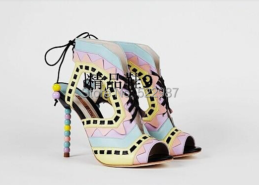 Designer Beading heels women summer Patchwark brand shoes 2014 lace sandals hot selling  -  Rose's Boutique store