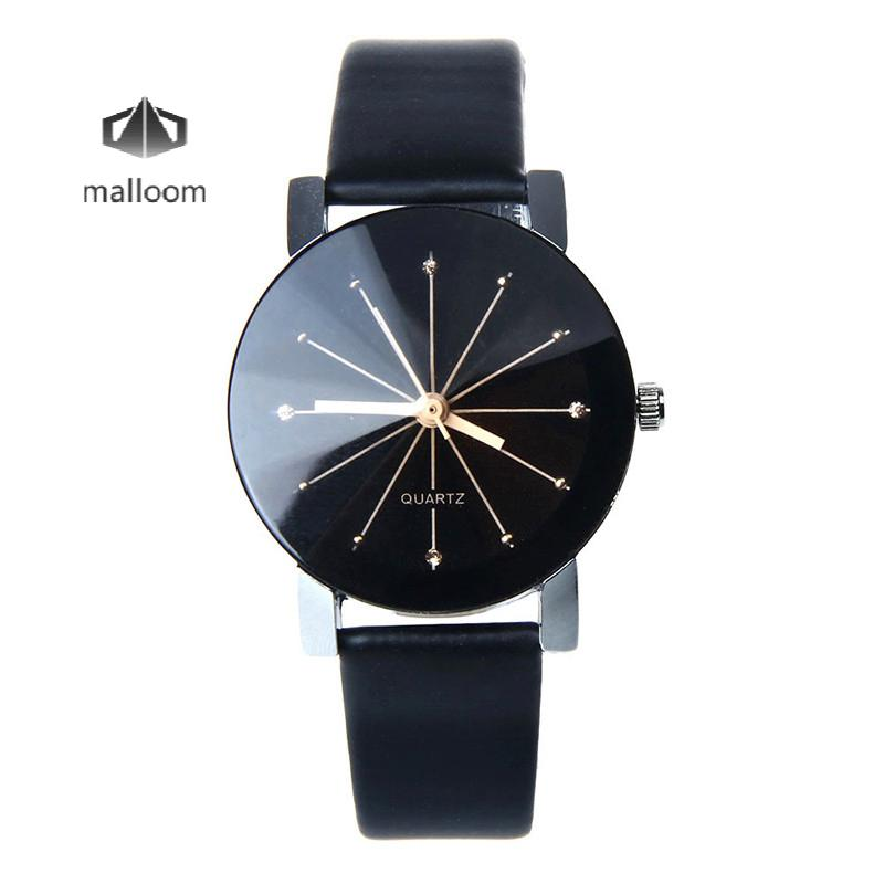 Quartz Big Dial WoMen 's Watch Leather Relogio Masculino Round Case Black Clock Wristwatches Watch Men Reloj Hombre Clock Gift