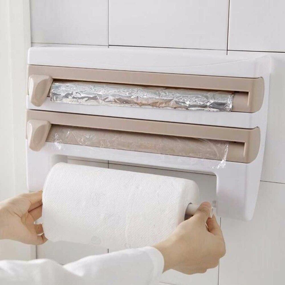 Multifunctional Kitchen Cling Wrap Film Sauce Bottle Tissue Storage Rack Sanitary Kitchen Paper Rolls Holder Kitchen Accessories