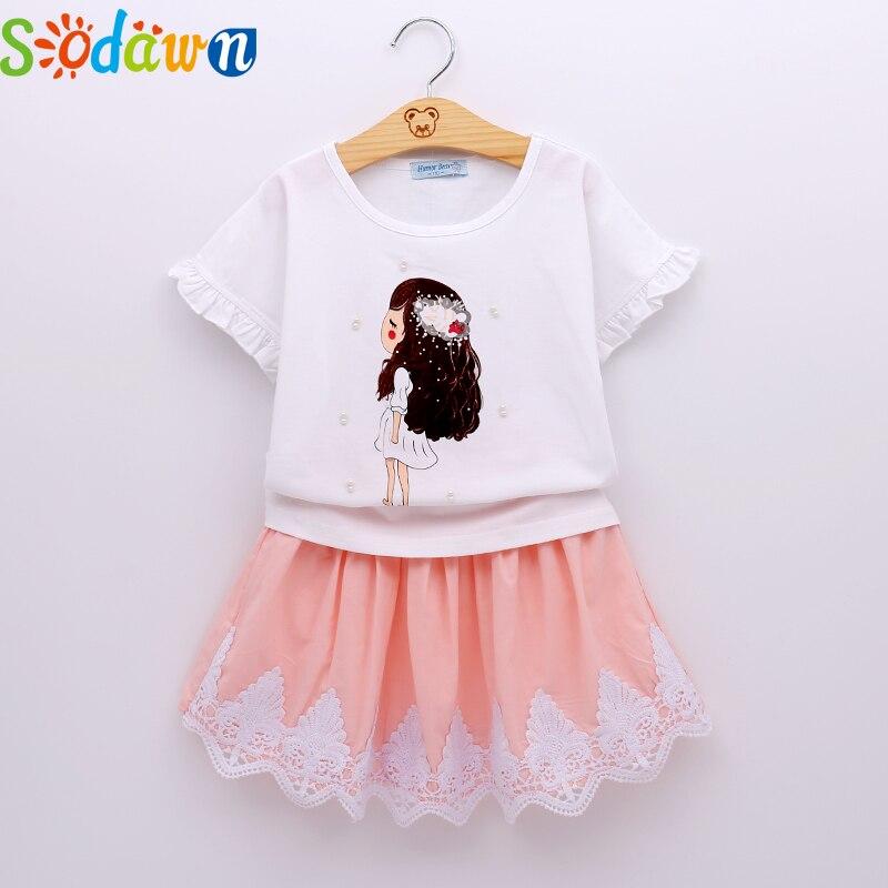 Sodawn Summer Fashion Girls Clothing Set Cartoon Girl Pearl Decoration+Lace Short Dress Girls Clothes 2Pcs Kids Clothing