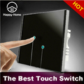 Black 2 gangs 1 way wall switch 110V~250V LED touch switch light Waterproof Crystal Glass,Wallpad Free OEM,Free Shipping