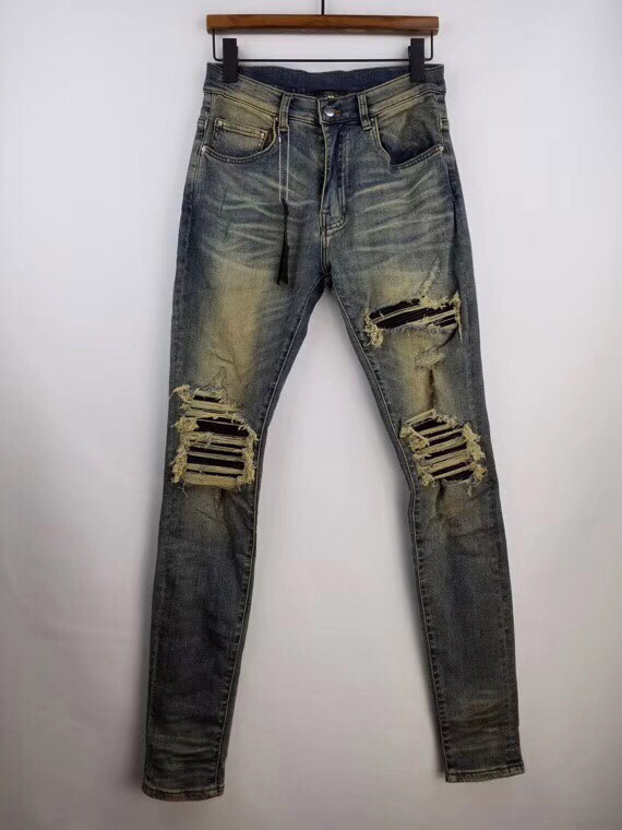 Men Stretchy Ribbed Leather Patches Distressed Dirty Indigo Jeans