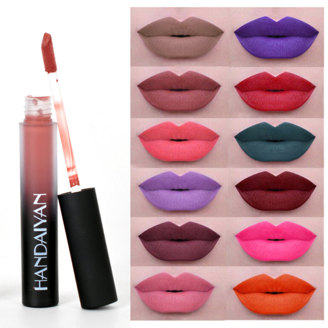 HANDAIYAN 12 Colors Matte Liquid Lipstick Lip Pen Purple Green Long Lasting Lipgloss Lip Balm Lips Makeup Cosmetic Lipsticks
