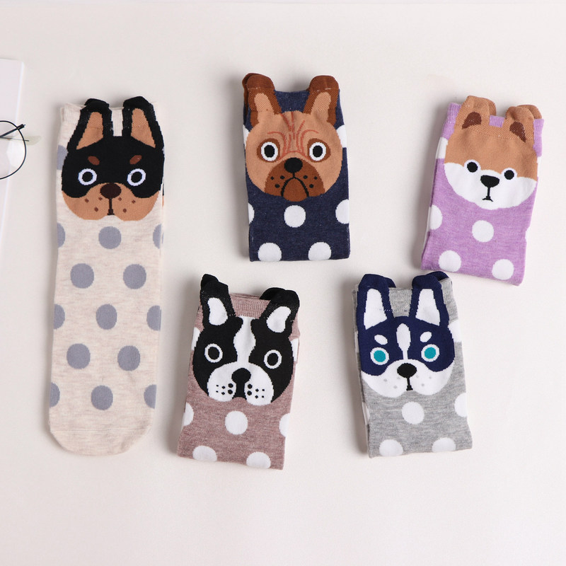 Jeseca New Cartoon   Sock   Cute Dog Animal Jacquard   Socks   Cotton Lovely Female Funny Novelty Creative Kawaii Autumn Winter   Sock