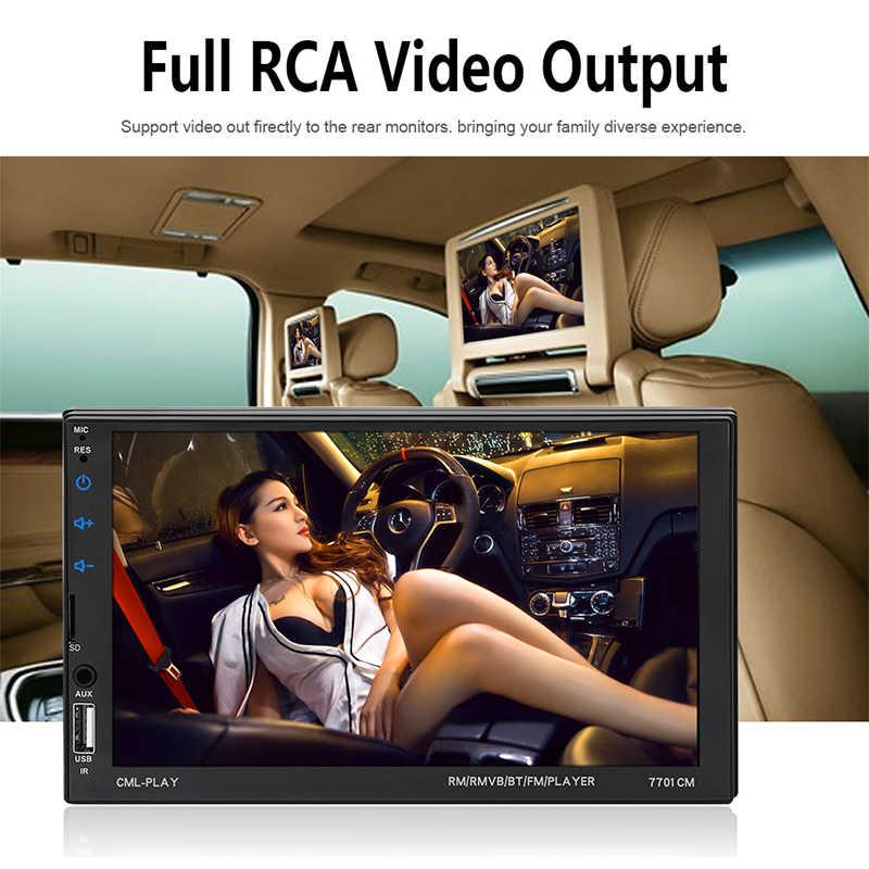 """カーラジオの Bluetooth 7 """"タッチスクリーン BT ハンズフリー AUX USB FM 自動オーディオステアリングホイールコントロール MP5 プレーヤー Autoradio 2Din"""