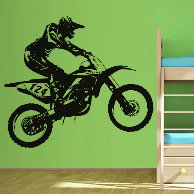 Hot Sale Self Adhesive Home Decor PVC Sticker Racing Number 124 Racer Riding Motorbike Wall Decal & Hot Sale Self Adhesive Home Decor PVC Sticker Racing Number 124 ...