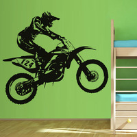 Hot Sale Self Adhesive Home Decor PVC Sticker Racing Number 124 Racer Riding Motorbike Wall Decal