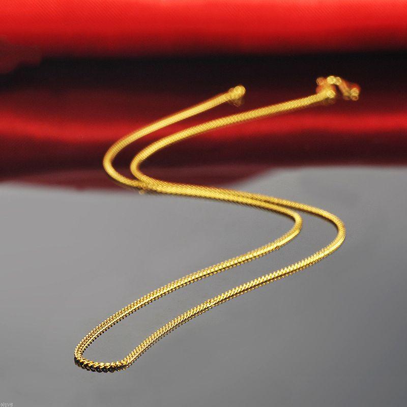 Belle Pure 999 24 K Oro Giallo Donne Catena Curb Link Collana Solido 18 polliciBelle Pure 999 24 K Oro Giallo Donne Catena Curb Link Collana Solido 18 pollici