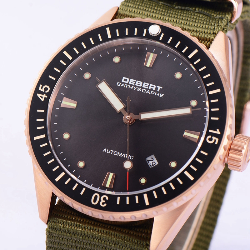Debert 43mm Black Dial erkek kol saati Sapphire Glass Rosegold Case Ceramic Bezel Mechanical luxury brand Automatic Men's watch