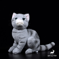 Soft stuffed animals toy real life Silver tabby cat plush dolls present cats model high quality