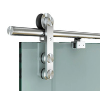DIYHD 6.6FT Soft Close Glass Barn Door Hardware Stainless Steel Two Sides Soft Close Mechanism Office Glass Sliding Door Track