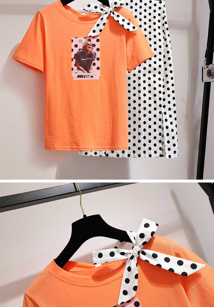 2019 Summer Women Polka Dot Print 2 Piece Clothing Set Character Pattern Bow Tshirt Top Button Split Bodycon Mid Calf Skirt Suit in Women 39 s Sets from Women 39 s Clothing