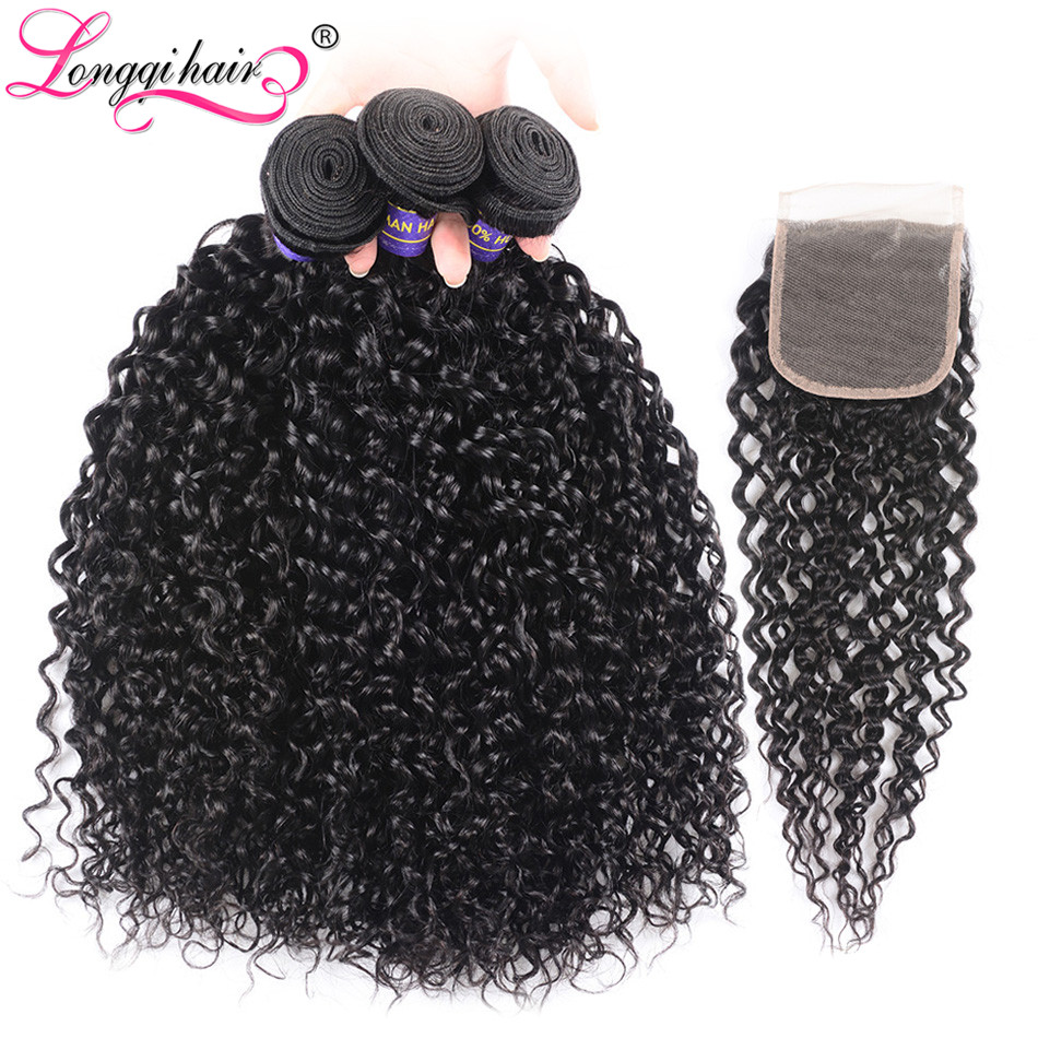 Longqi Human Hair Mongolian Kinky Curly Bundles With Closure Remy Hair Exension 3 Bundles With 4x4