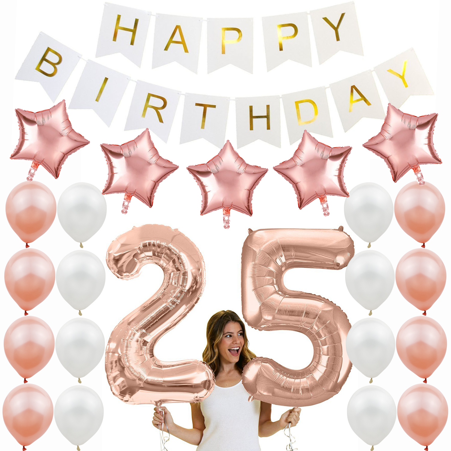 Amawill Birthday Party Supplies Rose Gold 12inch Latex Balloon White Happy Banner 25th Decorations Adult 7D