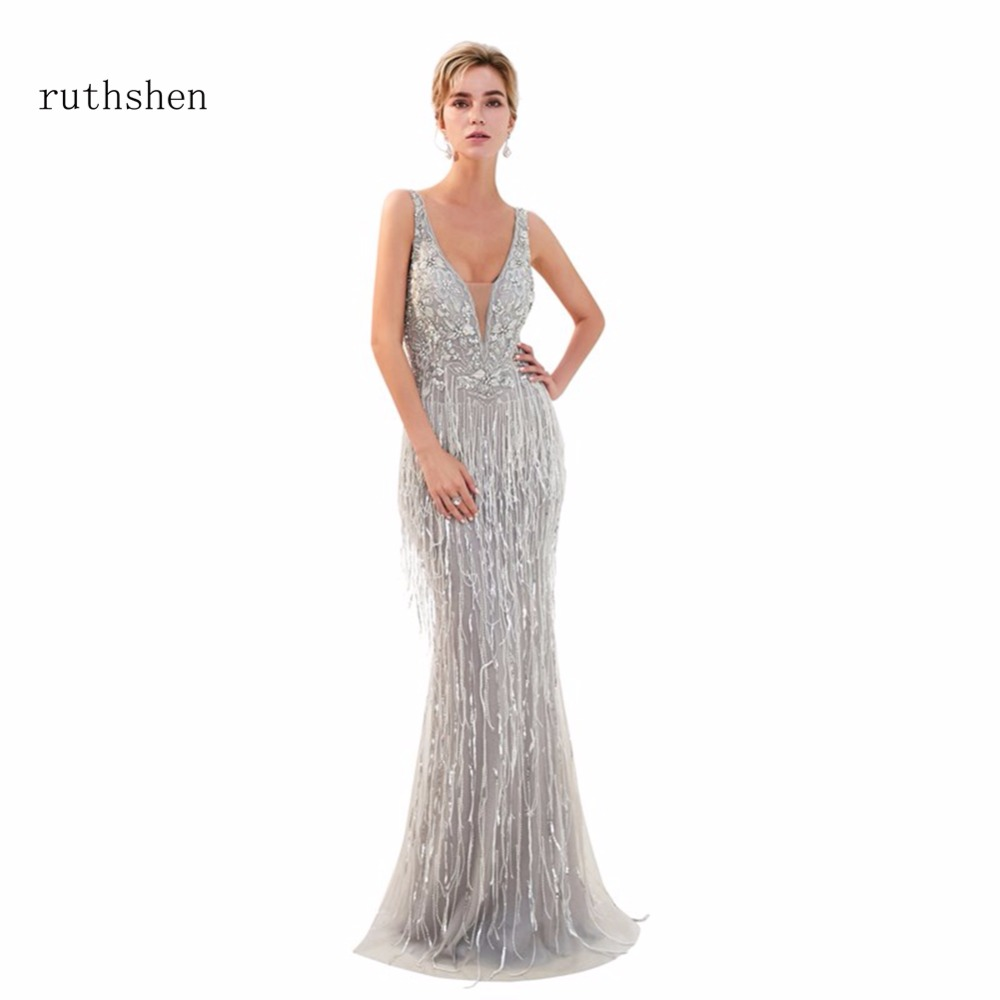 ruthshen Sexy Gray Mermaid Strapless Floor Length   Evening     Dress   Luxury 2018 Long Beaded Sleeveless Ladies Formal Prom Gowns 2018