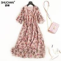 Shuchan Natural Silk Summer Dress For Women Prairie Chic Print Half Butterfly Sleeve O neck Elegante Kleider Damen 2018 C718