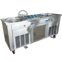 fried ice roll machine 110V Refrigerant R410a freezer double pan frying ice cream roll machine(ship by air to Tampa seaport)