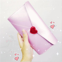 New White Long Purse Red Heart Wallet PU Leather Love Letter Cartoon Short Purse Cute Daily