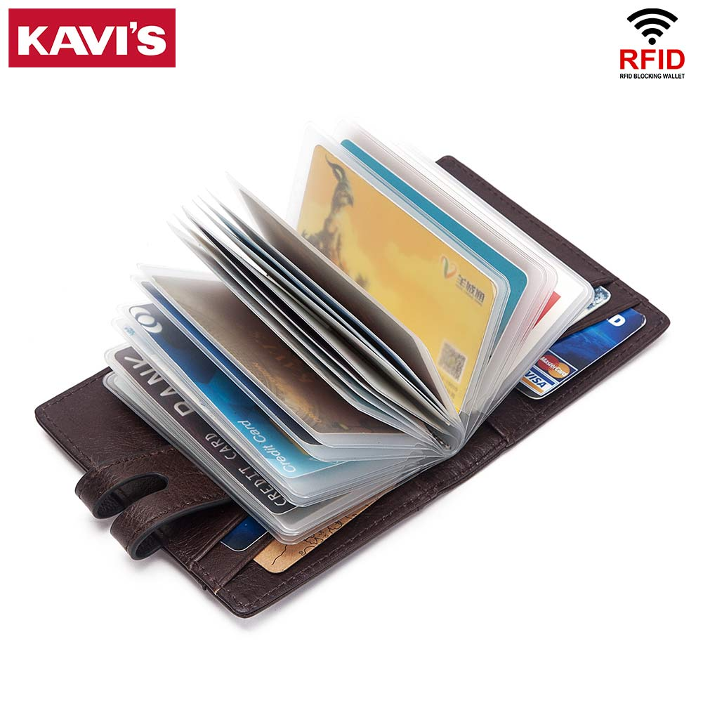KAVIS Function Genuine Leather Credit Cards Holder Wallet Multifunction ID Small Wallet Men Coin Purse Slim Cards Male Mini