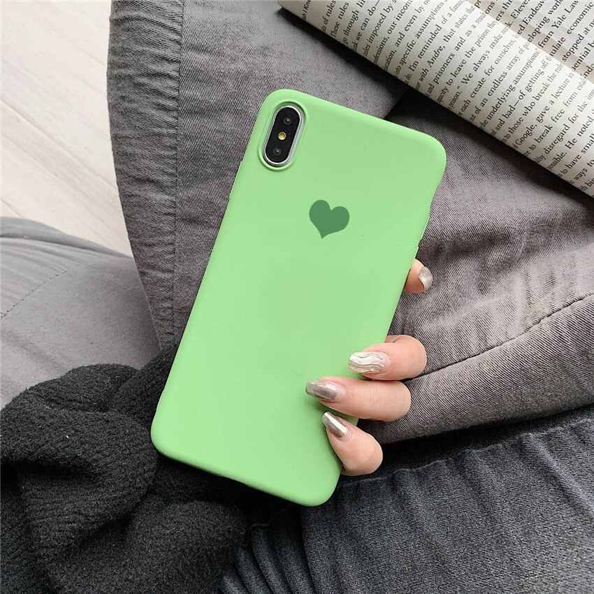 Summer dark green Color Love Heart Print Phone Case For iphone X XS Max XR Case For iphone 6 6S 8 7 plus Cover simple Soft Cases
