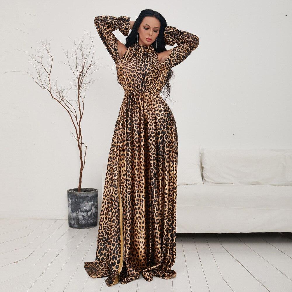 Femmes robe léopard col roulé élégant célébrité Flare manches étage longueur Sexy mode soirée longue robe en gros