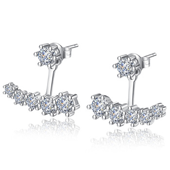 100% 925 Sterling Silver High Quality Shiny Crystal Stud Earrings for Women Wholesale Jewelry Birthday Gift Drop Shipping image