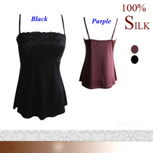100% pure silk knitted tank prime,pure silk double-faced knitted ladies tops,100% silk spaghetti strap vest fundamental