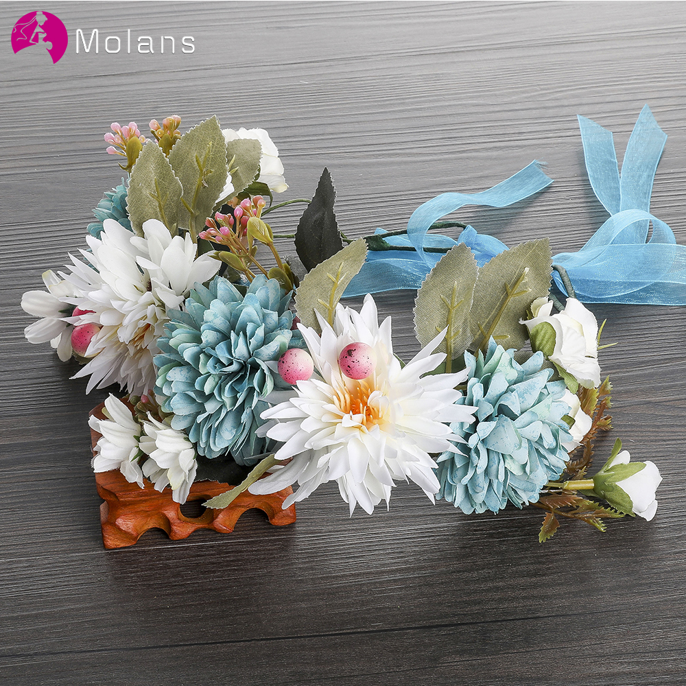 MOLANS Blue Rose Flower Crown Headbands Accessories For Bride Wedding Adjustable Ribbon Floral Wreath Headwear