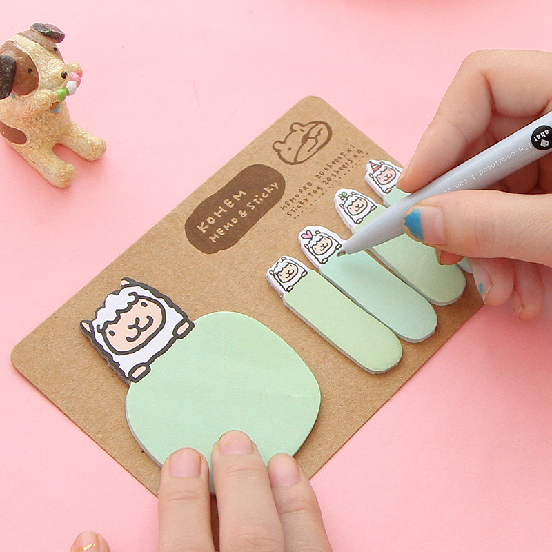 Kawaii Animal Bear Memo Pad Cartoon Rabbit Pig Sheep N Times Sticker Post It Note Korean Stationery Student Office School Supply in Memo Pads from Office School Supplies