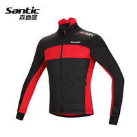 Santic Winter Fleece Warmth Cycling Jacket Men Fabric Cotton Bike Bicycle Jacket Windproof Cycle Cloth Riding