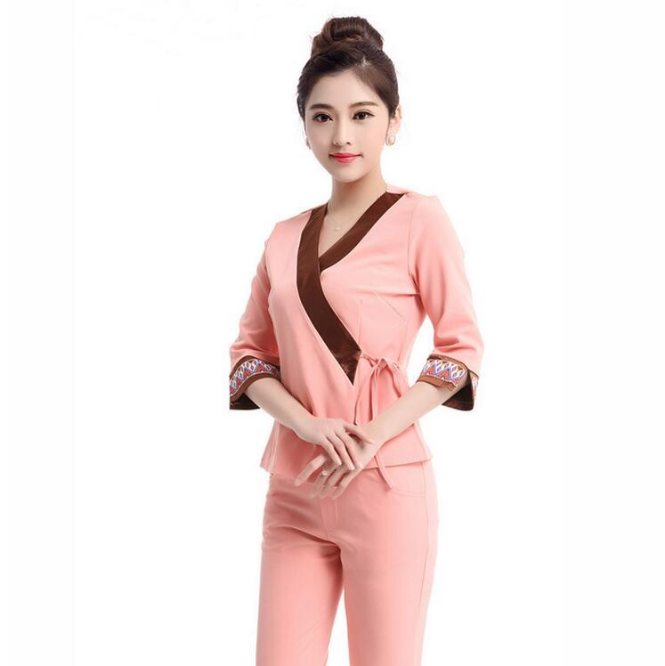 Pink Cotton Coverall Entertainment Dress  SPA Salon technician uniform Massage service staff dressing including Top& Trousers
