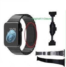 Promoción de lujo negro correa para apple watch enlace pulsera original de 42mm de acero inoxidable 316l con original 1:1 hebilla invisible