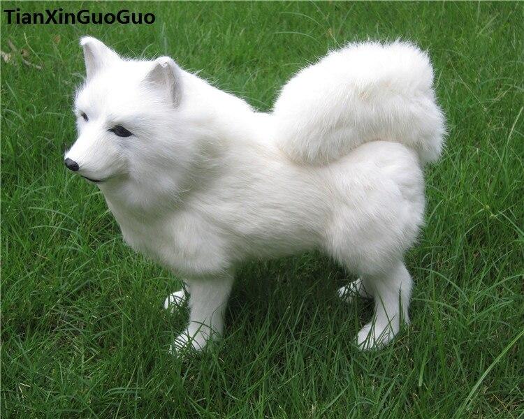 Simulation samoyed chien modèle dur jouet polyéthylène & fourrures grand 30x8x25 cm blanc debout chien artisanat décoration de la maison cadeau s0667