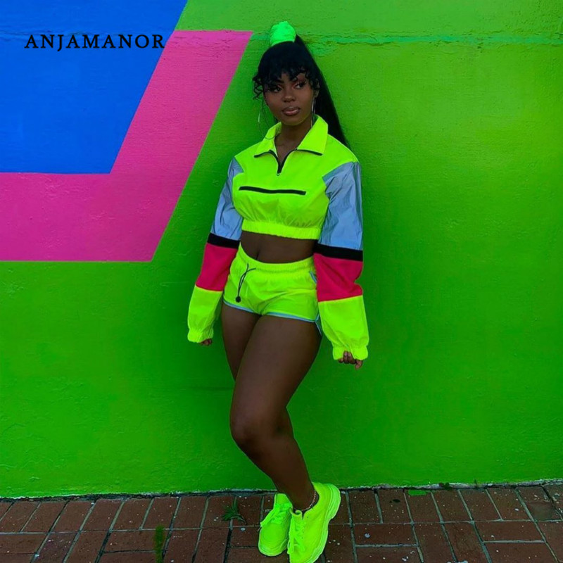 ANJAMANOR Two Piece Set Neon Green Color Block Reflective Outfits Sports Short Matching Sets Women Tracksuit Plus Size D30-AD60