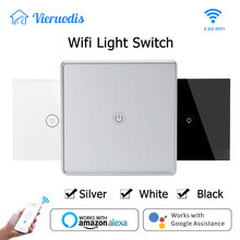 Silver EU/UK Wifi Smart light Switch Touch Glass Panel 1 gang 1 way smart life APP Remote Control works with Alexa Google Home 1 gang wifi control touch switch wallpad 1 gang 1 way wall switch glass panel smart home alexa google home e welink ios android
