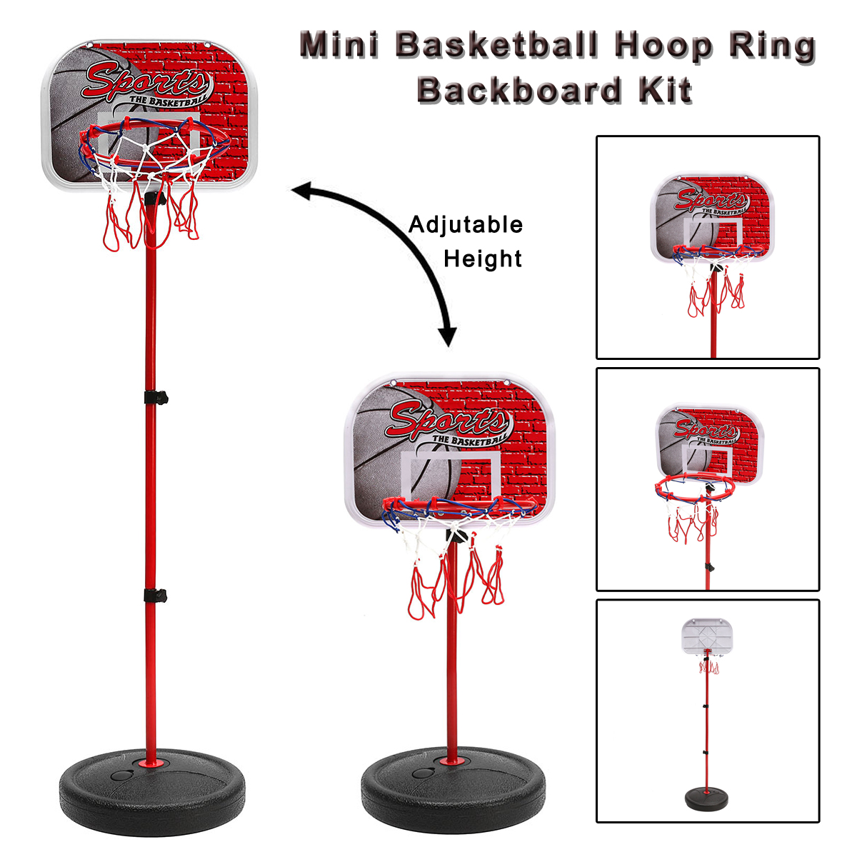 Children Hanging Basketball Stand Indoor Mini Adjustable Hanging Basketball Hoop Board For Kids Game Basketball Balls With Pump