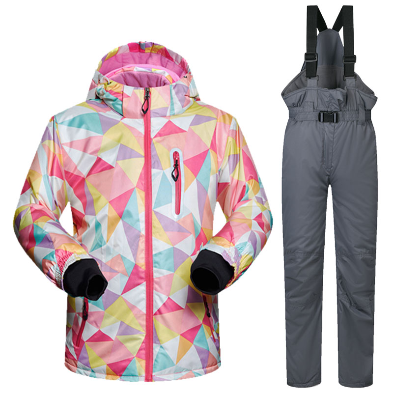 High Quality Kids Ski Suit Children Windproof Waterproof Colorful Girls for Boy Snowboard Snow Jacket and